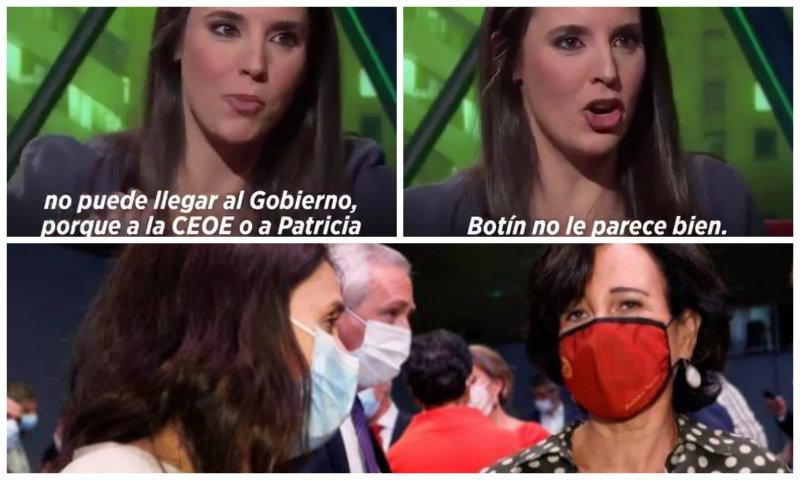 El vídeo que deja en bolas a Irene Montero tras intimar con Ana Patricia Botín en la 'performance' de Pedro Sánchez