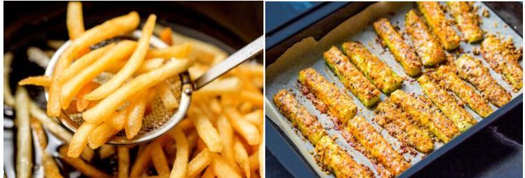 patatas fritas vs varitas de calabacín al horno