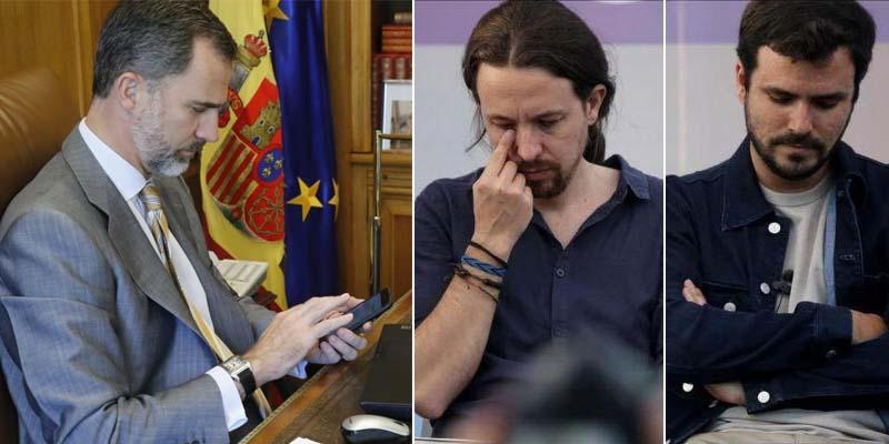 El Rey Felipe deja muertos del miedo a Iglesias y Garzón con una simple llamada telefónica