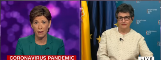 Soberbio zasca de una entrevistadora de la CNN a la ministra de Exteriores por vender humo sobre la gestión de España con el coronavirus