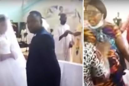 Una mujer irrumpe en una iglesia para impedir una boda... ¡La de su esposo!
