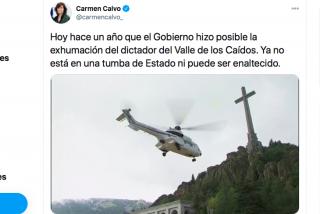 Carmen Calvo exhibe el ataúd de Franco para tapar el estado de alarma y recibe un palo brutal