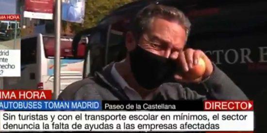 """El dueño de una empresa familiar de autobuses rompe a llorar en Telemadrid por el impacto de la nefasta gestión del COVID-19: """"Estamos arruinados"""""""