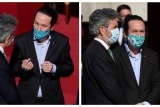 La indecente imagen de Iglesias presionando al presidente del Supremo que decidirá si le imputan por el caso Dina