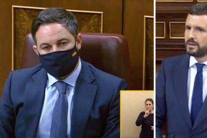 """Casado rompe con Abascal: """"Esta moción no es contra Sánchez, es contra el PP"""""""