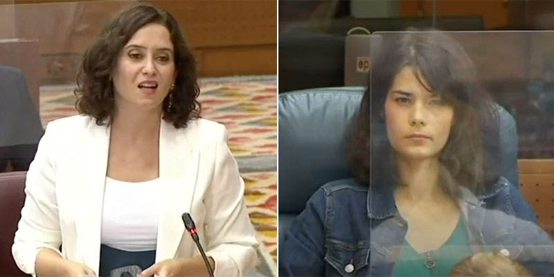Isabel Díaz Ayuso 'barre' a la exaltada podemita Isa Serra en de la Asamblea de Madrid