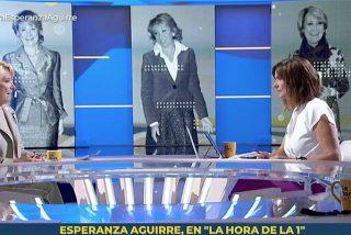 """Esperanza Aguirre ridiculiza a TVE en la cara de su entrevistadora: """"En esta casa llamáis 'Doctor Simón' a quien se fue dos veces de vacaciones en plena pandemia"""""""
