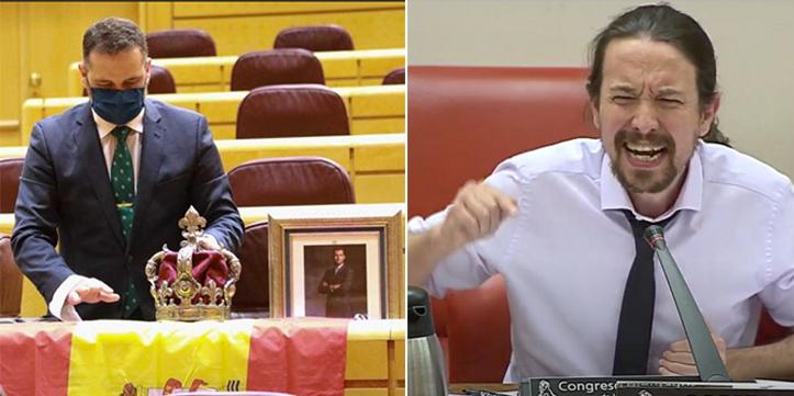 La burlesca 'bienvenida' a Iglesias en el Senado: foto del Rey Felipe, una corona y bandera de España