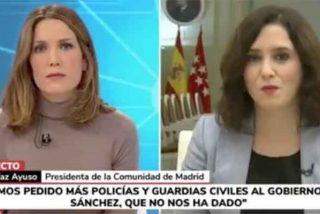 "Entrevista a cuchillo a Isabel Díaz Ayuso en Telemadrid: ""Esas preguntas no se le hacen a un presidente autonómico"""
