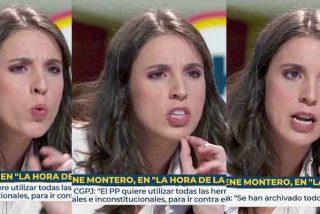 Bochornoso: Irene Montero se ríe de todos los espectadores de TVE con el 'caso Dina' y ni Mónica López ni sus tertulianos rebaten nada