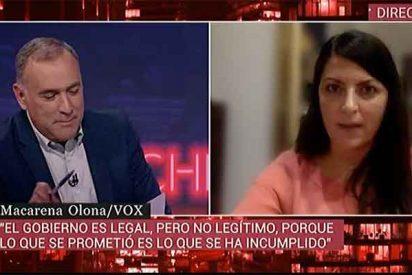 """Macarena Olona (VOX) fulmina a Fortes y a TVE por no quitarse a Franco de la cabeza: """"¡Con todo el respeto, ahora no, por favor!"""""""