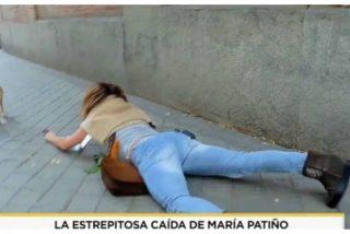 El dantesco show de María Patiño: estrepitosa caída ante las cámaras con la caca de su perro en la mano y amenazas a su propio equipo