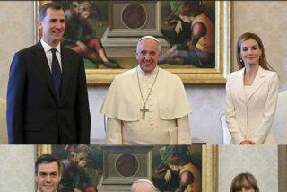 Viral foto del Rey Felipe y Doña Letizia 'humillando' a Pedro Sánchez y Begoña Gómez visitando al Papa