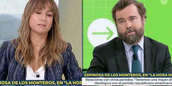"""A la podemita Ana Pardo de Vera se le atraganta el café cuando interviene Espinosa de los Monteros (VOX): """"Ahora le voy a decir yo lo que pienso"""""""