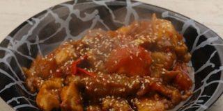 Pollo con salsa de ostras