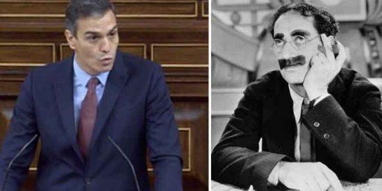 Sánchez, cuyo Gobierno es una eterna caricatura, 'tira' de Groucho Marx como 'sólido' argumento contra la moción de censura