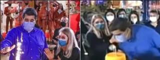 La nueva idiotez de Maduro: intentó soplar unas velas con la mascarilla puesta