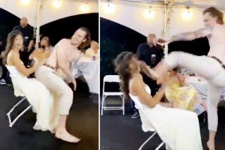 El novio patoso arruina su boda al patear en la cara a su atribulada esposa en medio de un baile erótico