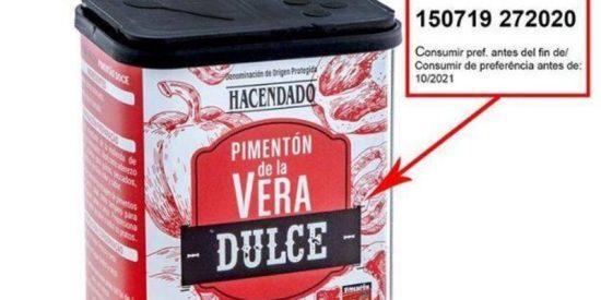 Alimentos: Alerta por salmonella en un lote de pimentón de Mercadona