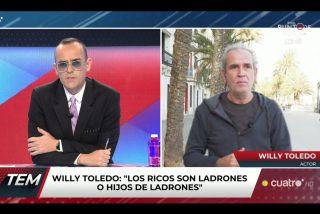 Un crecido Willy Toledo, tras encontrar trabajo, acusa a Risto de ser el 'títere' de las grandes corporaciones