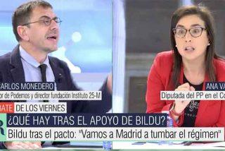 """Ana Vázquez (PP) pasaporta a Monedero: """"Mientras nosotros luchábamos contra ETA, tú asesorabas a Venezuela"""""""
