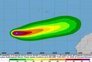 Theta, la tormenta que podría convertirse en un huracán de categoría 1, se aproxima a España