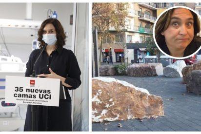 """Twitter recuerda que Colau se gastó 338.000€ en seis piedras, """"no como Ayuso, que lo despilfarra en un hospital"""""""