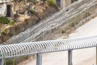 Un inmigrante ilegal coge un escalera y salta sin problemas los 'peines invertidos' de la valla de Ceuta