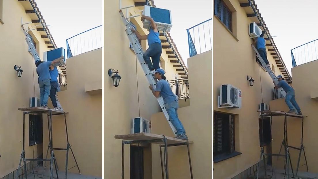 Intentan instalar un aire acondicionado en el segundo piso y su abrupto final es un éxito en TikTok
