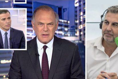 Sopapo monumental de Alsina a Piqueras por la entrevista masaje a Sánchez en Telecinco
