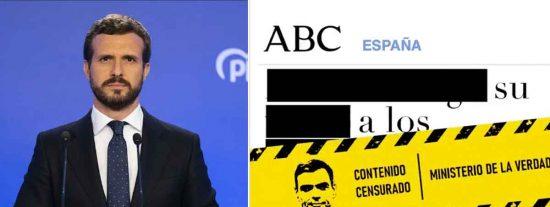 'Contenido censurado': ofensiva del PP contra el 'Ministerio de la Verdad' de Sánchez, Iglesias y Redondo