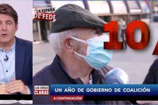 Cintora clava un pseudo-reportaje con los españoles aprobando la gestión de Sánchez tras terminar el presidente su homilía