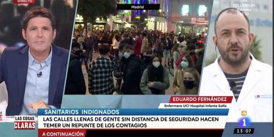 Jesús Cintora saca en TVE al mismo 'enfermero podemita' al que tuvo que cortar Ana Rosa Quintana