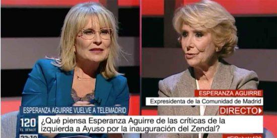 """Esperanza Aguirre regresa a Telemadrid y la pone patas arriba: """"Ustedes aquí solo sacan al PSOE, Podemos y Más Madrid"""""""