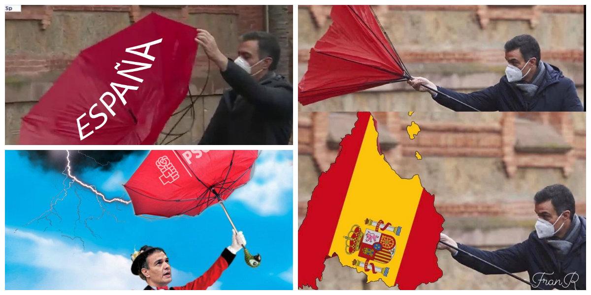 Pedro Sánchez provoca con su escena del paraguas un chaparrón de burlas en Twitter