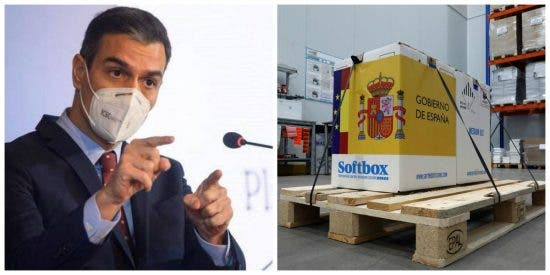 El show propagandístico de La Moncloa con la vacuna: solo faltó poner la foto de Sánchez en las cajas