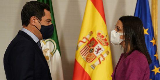 Juanma Moreno se reúne en San Telmo con la presidenta de Ciudadanos, Inés Arrimadas