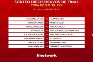 Copa del Rey: El 'Gordo' cae con retraso en Alcoy y Cornellá, que recibirán las visitas del Madrid y el Barça