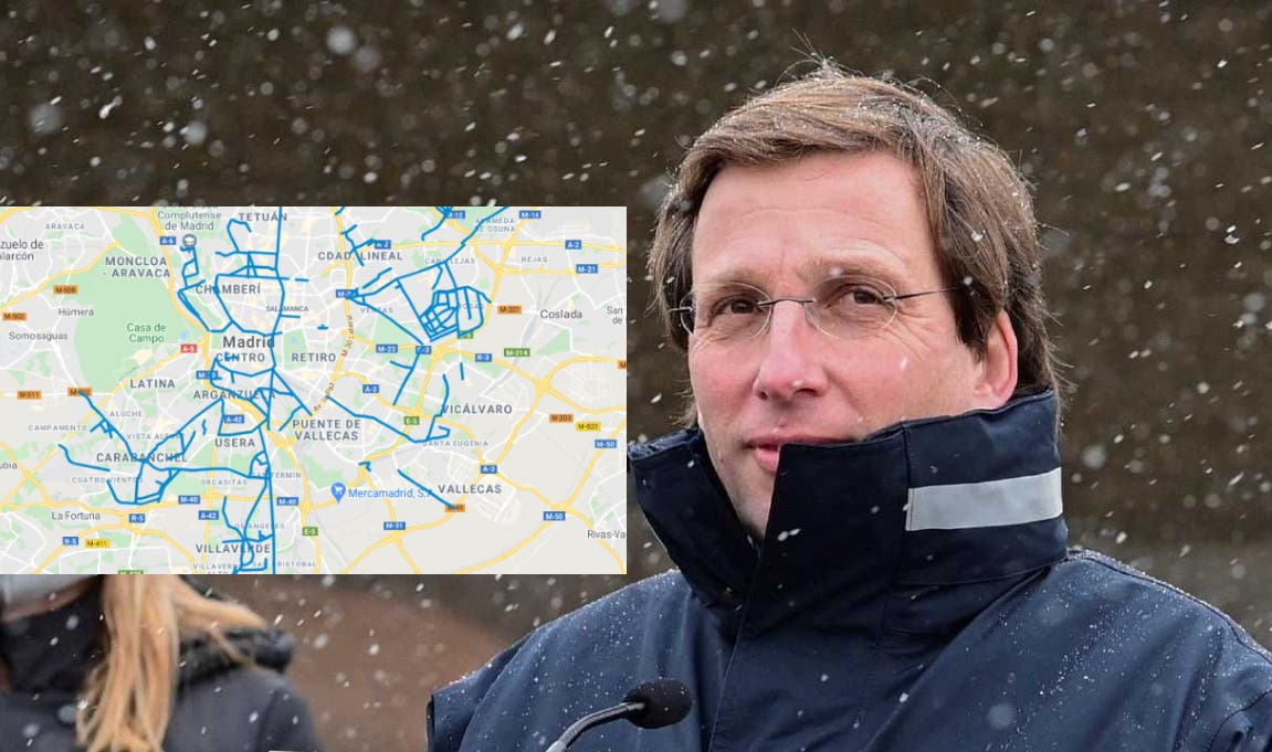 Este es el mapa de Google que te permite saber en tiempo real qué calles de Madrid están limpias de nieve