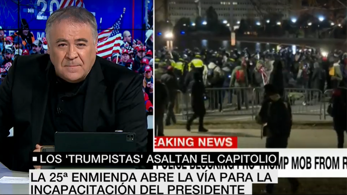 """Ferreras critica el asalto al Capitolio y le cae la del pulpo: """"Nunca condenó a Podemos por asediar al Congreso"""""""