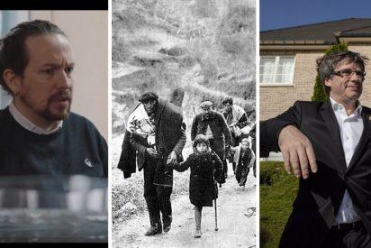 """La prensa hace añicos a Iglesias por comparar al delincuente Puigdemont con los exiliados: """"Da mucha vergüenza"""""""