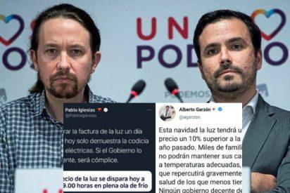 Precio de la luz: la hemeroteca pasa factura a los caraduras Garzón e Iglesias
