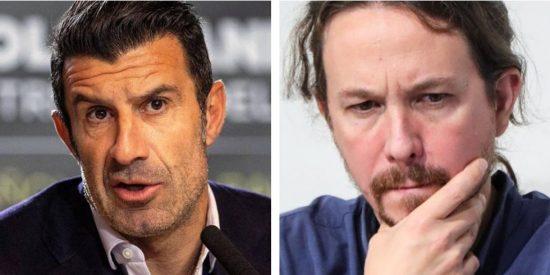 """Luis Figo le mete un 'zasca' a Pablo Iglesias de volea: """"Ya sólo engañas a los tontos muy tontos"""""""