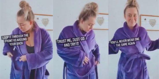 El vídeo viral sobre la técnica de abrocharte la bata que demuestra que lo has hecho mal toda la vida