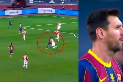 Un frustrado Messi sacude un trompazo a un futbolista del Atleti, le sacan la roja y la red se parte de risa