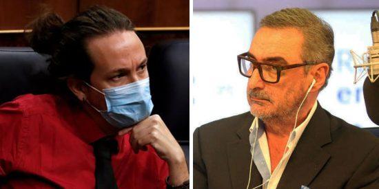 """Carlos Herrera destroza al """"del moño rojo"""", Pablo Iglesias: """"¡Cantamañanas y oportunista!"""""""