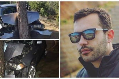 Mario Herrera (Podemos) empotra su BMW contra un árbol en pleno toque de queda y huye como un conejo