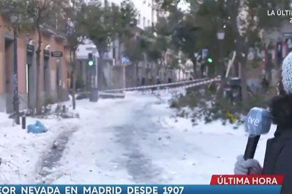 Tremendo susto en TVE: la reportera informaba de los desprendimientos de nieve de los tejados cuando...