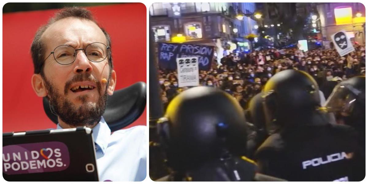 Twitter lapida a Pablo Echenique por aplaudir la violencia de los seguidores de Hasel contra la Policía