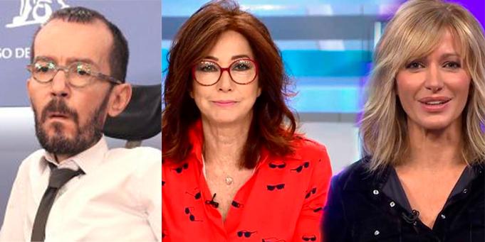 Echenique, rabioso contra Ana Rosa Quintana y Susanna Griso por mostrar el vídeo de Iglesias despreciando a Hasel